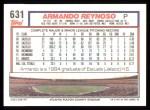 1992 Topps #631  Armando Reynoso  Back Thumbnail