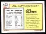 1992 Topps #402   -  Joe Carter All-Star Back Thumbnail