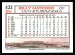 1992 Topps #432  Billy Hatcher  Back Thumbnail