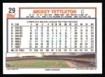 1992 Topps #29  Mickey Tettleton  Back Thumbnail
