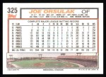 1992 Topps #325  Joe Orsulak  Back Thumbnail