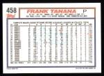 1992 Topps #458  Frank Tanana  Back Thumbnail