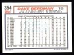1992 Topps #354  Dave Bergman  Back Thumbnail