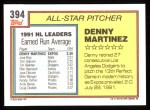 1992 Topps #394   -  Dennis Martinez All-Star Back Thumbnail