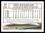 1992 Topps #42  Mike Macfarlane  Back Thumbnail