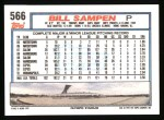1992 Topps #566  Bill Sampen  Back Thumbnail