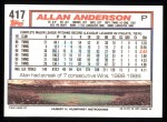1992 Topps #417  Allan Anderson  Back Thumbnail