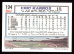 1992 Topps #194  Eric Karros  Back Thumbnail
