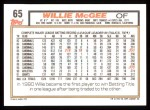 1992 Topps #65  Willie McGee  Back Thumbnail