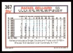 1992 Topps #367  Rafael Belliard  Back Thumbnail