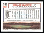 1992 Topps #747  Willie Banks  Back Thumbnail