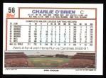 1992 Topps #56  Charlie O'Brien  Back Thumbnail