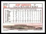 1992 Topps #372  Kip Gross  Back Thumbnail