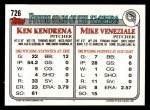 1993 Topps #726  Mike Veneziale  Back Thumbnail