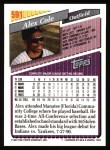 1993 Topps #591  Alex Cole  Back Thumbnail
