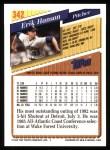 1993 Topps #342  Erik Hanson  Back Thumbnail