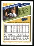 1993 Topps #210  Mark Langston  Back Thumbnail