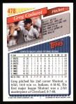 1993 Topps #478  Greg Cadaret  Back Thumbnail