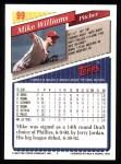 1993 Topps #99  Mike Williams  Back Thumbnail