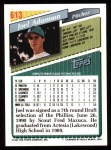 1993 Topps #613  Joel Adamson  Back Thumbnail