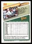 1993 Topps #263  Vince Horsman  Back Thumbnail