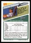 1993 Topps #572  Trevor Hoffman  Back Thumbnail
