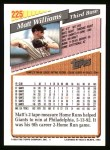 1993 Topps #225  Matt Williams  Back Thumbnail