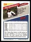 1993 Topps #154  Wes Chamberlain  Back Thumbnail