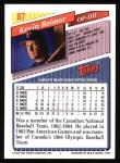 1993 Topps #87  Kevin Reimer  Back Thumbnail