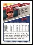 1993 Topps #208  Mike Hartley  Back Thumbnail