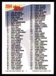 1993 Topps #394   Checklist 1-132 Back Thumbnail
