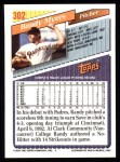 1993 Topps #302  Randy Myers  Back Thumbnail