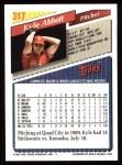 1993 Topps #317  Kyle Abbott  Back Thumbnail