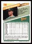 1993 Topps #796  Scott Brosius  Back Thumbnail