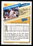 1993 Topps #153  Greg Vaughn  Back Thumbnail
