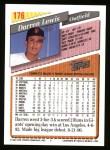 1993 Topps #176  Darren Lewis  Back Thumbnail