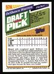 1993 Topps #574  DeShawn Warren  Back Thumbnail