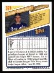 1993 Topps #321  Rusty Meacham  Back Thumbnail