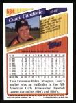 1993 Topps #584  Casey Candaele  Back Thumbnail