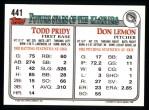 1993 Topps #441  Todd Pridy  Back Thumbnail