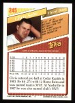1993 Topps #245  Chris Sabo  Back Thumbnail