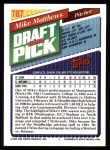 1993 Topps #787  Mike Matthews  Back Thumbnail