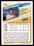 1993 Topps #316  Dave Nilsson  Back Thumbnail
