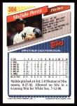1993 Topps #304  Melido Perez  Back Thumbnail