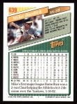 1993 Topps #639  Mike Bordick  Back Thumbnail