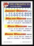1993 Topps #658  Jeromy Burnitz / Melvin Nieves / Rich Becker / Shon Walker  Back Thumbnail