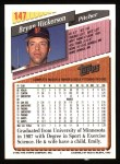 1993 Topps #147  Bryan Hickerson  Back Thumbnail