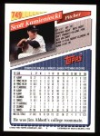 1993 Topps #749  Scott Kamieniecki  Back Thumbnail