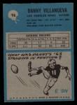 1964 Philadelphia #96  Danny Villanueva     Back Thumbnail