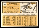 1963 Topps #501  Joe Azcue  Back Thumbnail